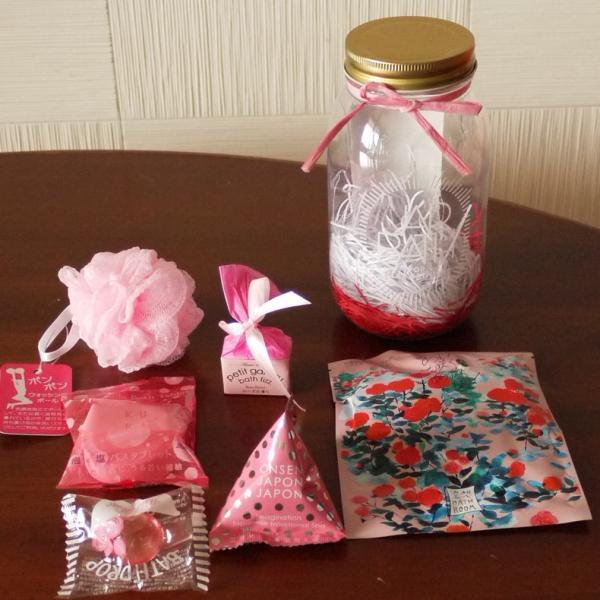 ジャー バス 入浴剤 ギフト 詰め合わせ ピンク アロマ 誕生日 母の日 父の日|aromainterior|02