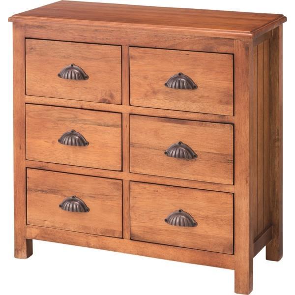 天然木製 ワイドチェスト 2×3段 W70xD34xH68cm たんす 引き出し 寝室 おしゃれ