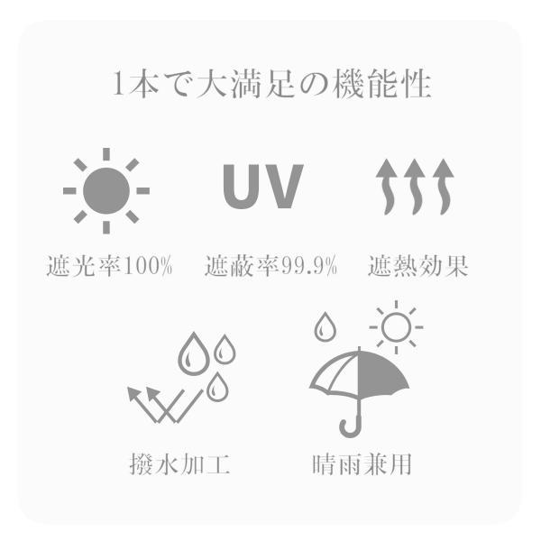 日傘 完全遮光 折りたたみ 傘 かさ 遮光率 100% UVカット 99.9% 紫外線対策 UV対策 晴雨兼用 レディース 裾花柄 ボーダー柄 プロバンス柄|aromaroom|04