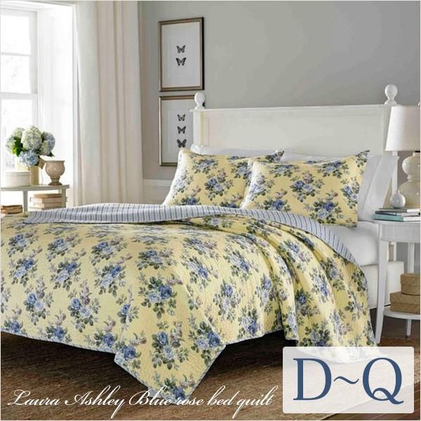 ベッドカバー  おしゃれ ダブル クイーン 3点セット ローラアシュレイ ブルーローズ|aromaroom