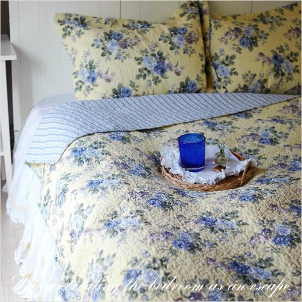ベッドカバー  おしゃれ ダブル クイーン 3点セット ローラアシュレイ ブルーローズ|aromaroom|02