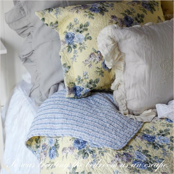 ベッドカバー  おしゃれ ダブル クイーン 3点セット ローラアシュレイ ブルーローズ|aromaroom|03