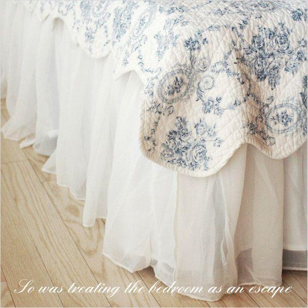 ベッドスカート シングル シフォンベッドスカート フリル45cm|aromaroom