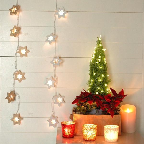 LEDライト 電池式 ノルディックウッド LED ガーランドスター/ホワイト/ナチュラル