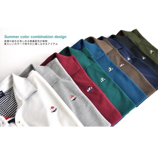 ポロシャツ 半袖 メンズ 送料無料 衿裏配色 カノコ セール 通販M《M1.5》 aronacasual 02