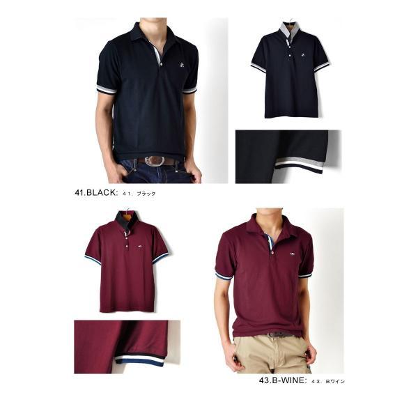 ポロシャツ 半袖 メンズ 送料無料 衿裏配色 カノコ セール 通販M《M1.5》 aronacasual 11