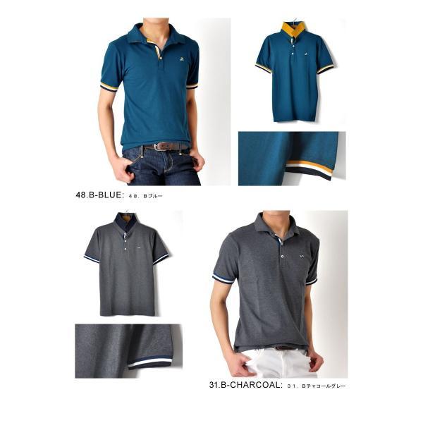 ポロシャツ 半袖 メンズ 送料無料 衿裏配色 カノコ セール 通販M《M1.5》 aronacasual 12