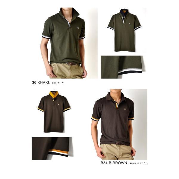 ポロシャツ 半袖 メンズ 送料無料 衿裏配色 カノコ セール 通販M《M1.5》 aronacasual 13