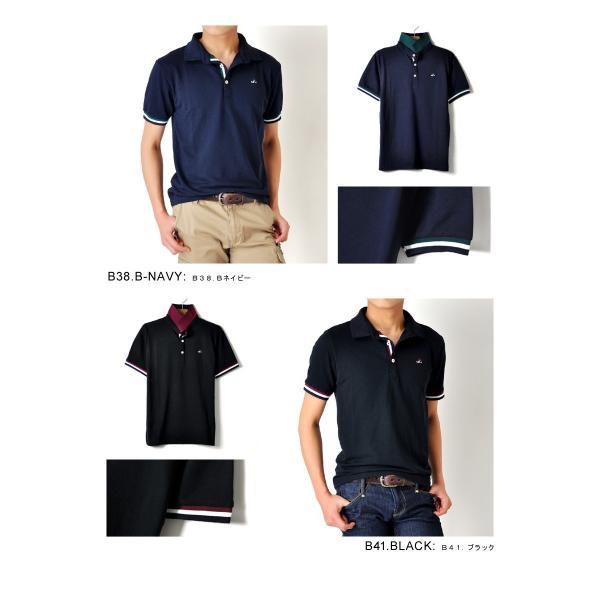 ポロシャツ 半袖 メンズ 送料無料 衿裏配色 カノコ セール 通販M《M1.5》 aronacasual 14