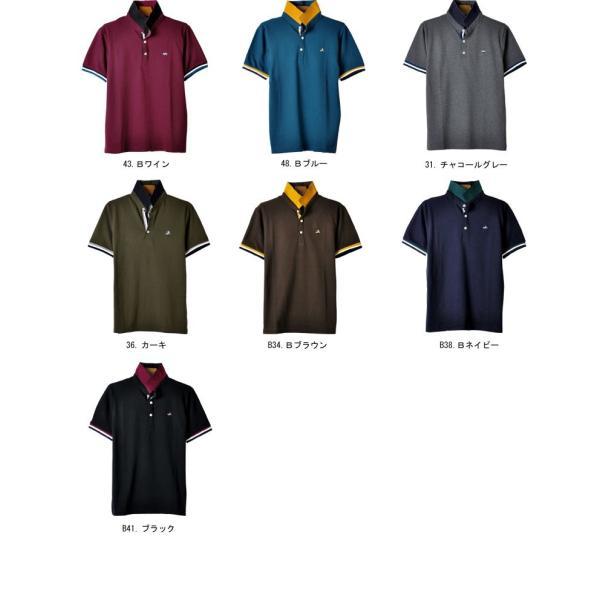 ポロシャツ 半袖 メンズ 送料無料 衿裏配色 カノコ セール 通販M《M1.5》 aronacasual 16