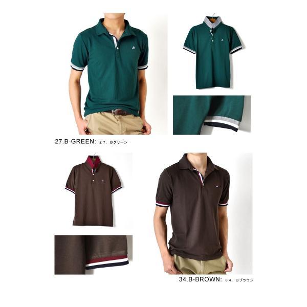 ポロシャツ 半袖 メンズ 送料無料 衿裏配色 カノコ セール 通販M《M1.5》 aronacasual 09