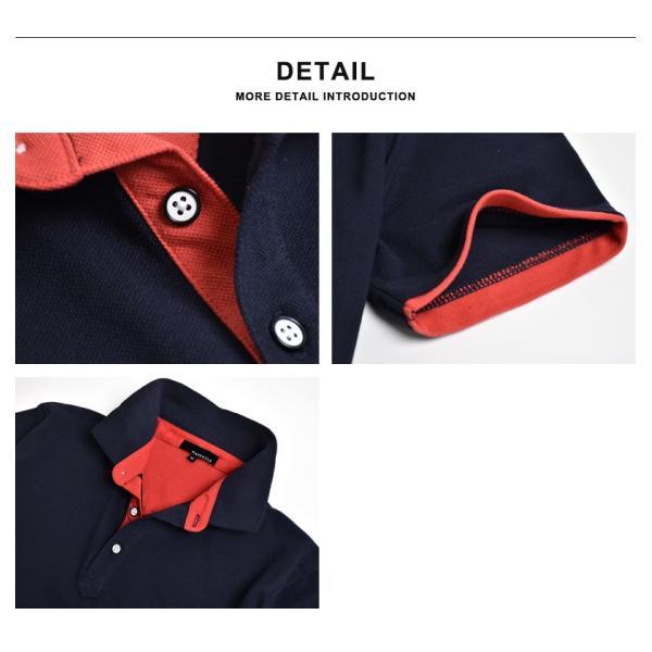 半袖 ポロシャツ メンズ ストレッチ カラー配色 セール 送料無料 通販M《M1.5》|aronacasual|17