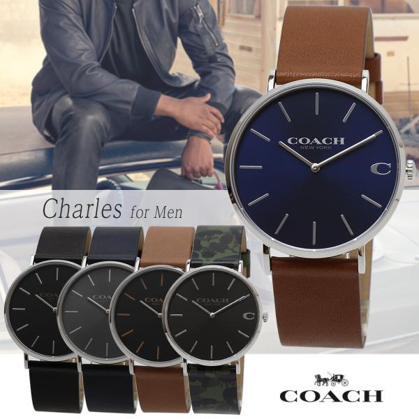 ae806d211308 COACH Charles メンズウォッチ 41mm コーチ チャールズ 男性用腕時計 レザーベルト ビジネスウォッチ カジュアル ファッション