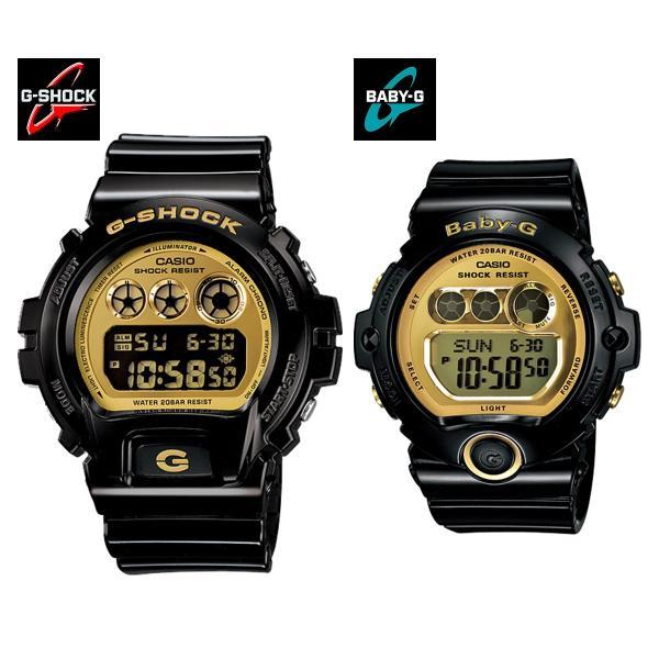 安心2年保証 CASIO G-shock&Baby-g ペアウォッチ 2本セット ブラック 黒 ゴールド 金 DW-6900CB-1 BG-6901-1