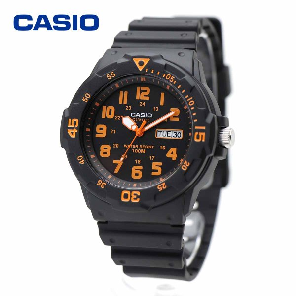 817acde65c CASIO カシオ MRW-200H-4BV ブラック・オレンジ ダイバールック シンプル スタンダード アナログ ウォッチ ...