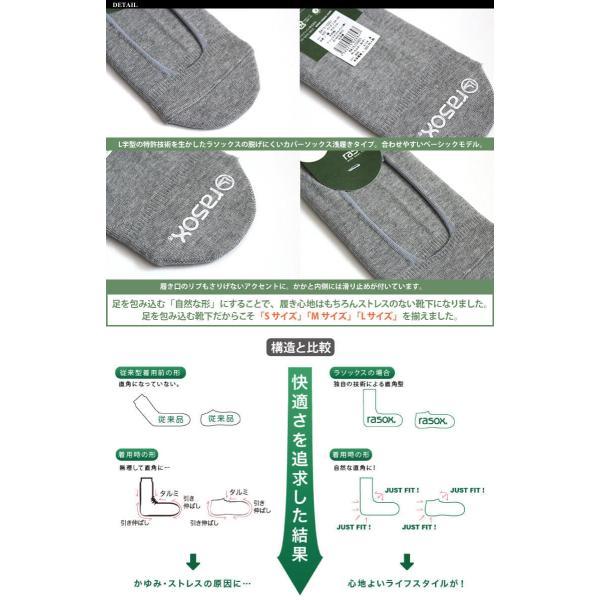 ラソックス rasox 靴下 カバーソックス 脱げない ベーシック・カバー フットカバー レディース メンズ (BA151C001)|arrowhead|03