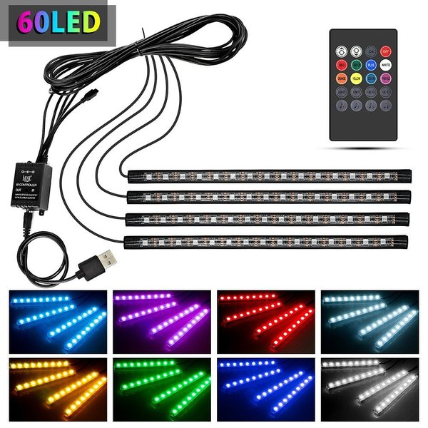 テープライト 28cm×4本 60LED RGB 車用 USB式 装飾 音に反応 防水 全8色に切替 高輝度 フットランプ 足下照明 リモコン付き arsion