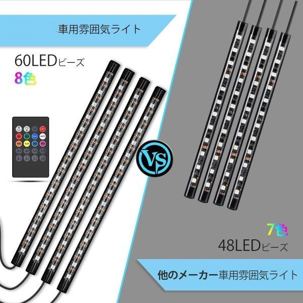 テープライト 28cm×4本 60LED RGB 車用 USB式 装飾 音に反応 防水 全8色に切替 高輝度 フットランプ 足下照明 リモコン付き arsion 04
