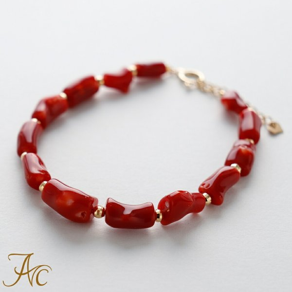 日本産血赤珊瑚<枝>K18ミラーボール入りブレスレット
