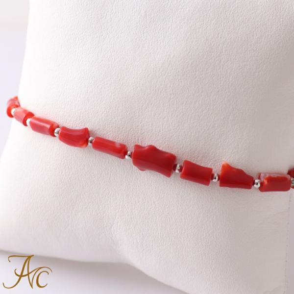 本産血赤珊瑚<枝>18WGブレスレット