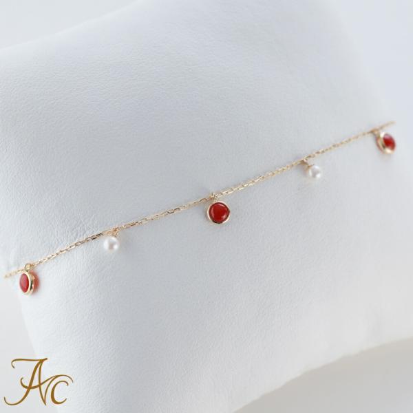 【日本産血赤珊瑚&ペダイヤモンド】血赤珊瑚 あこや真珠 ブレスレット K18