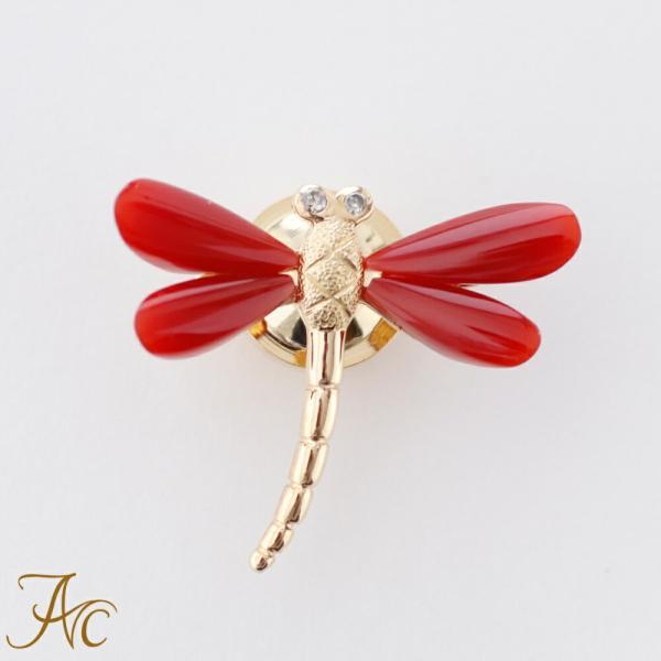 日本産血赤珊瑚<トンボ>K18タック