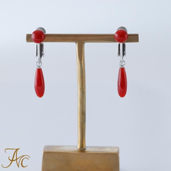 日本産血赤珊瑚K14WGイヤリング