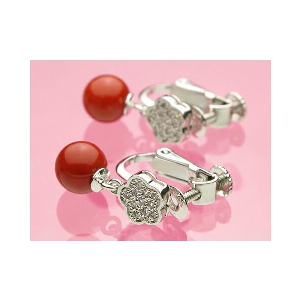 赤珊瑚6ミリ玉SVイヤリング
