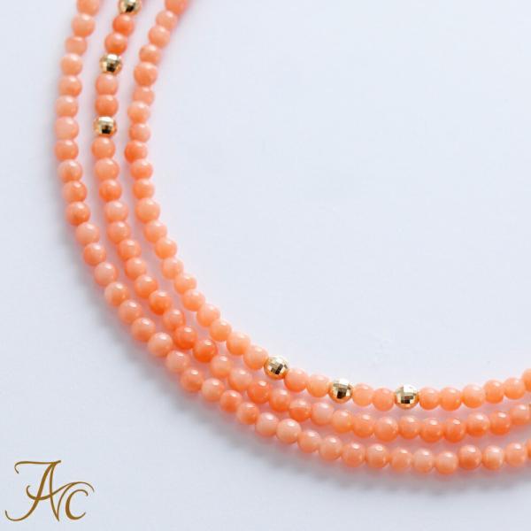 ピンク珊瑚K18ミラーボール入りメガネチェーン(グラスコード)