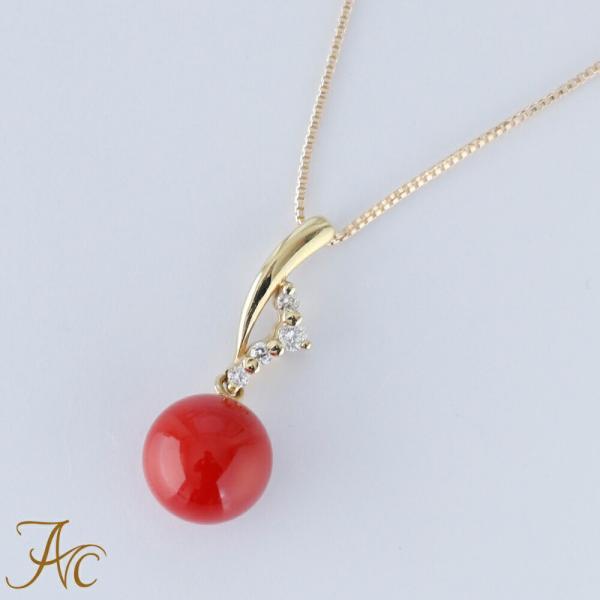 日本産血赤珊瑚7.3ミリ玉K18ペンダントネックレス