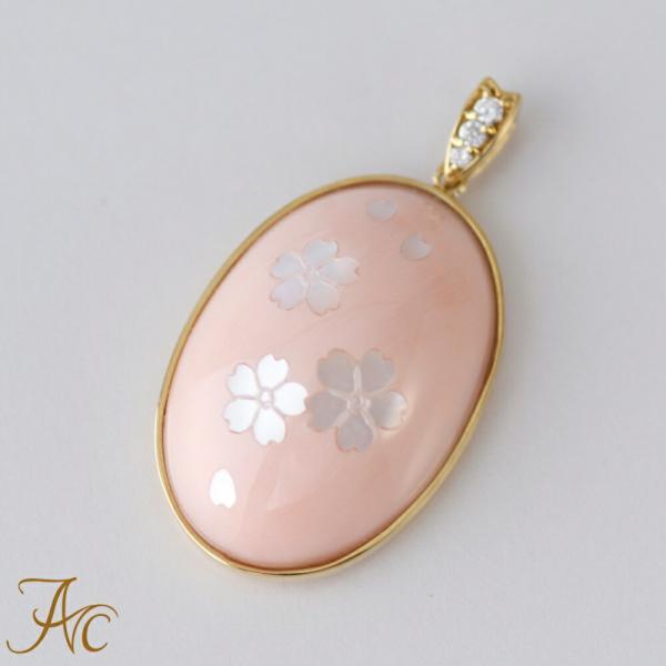 ピンク珊瑚 桜 象嵌入りK18ペンダントトップ