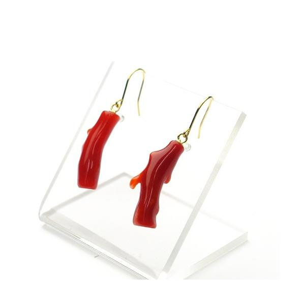 選べる♪日本産血赤珊瑚<枝>K18アメリカンピアス