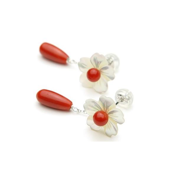 赤珊瑚ドロップ& 白蝶貝 K18WGピアス