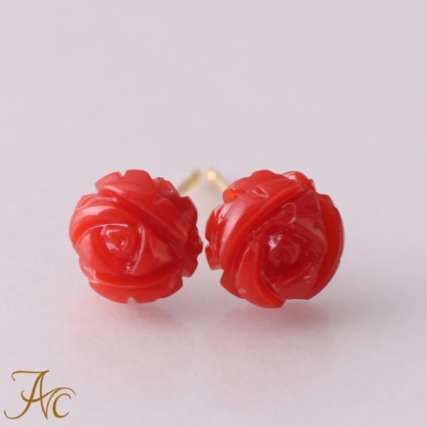 血赤珊瑚 薔薇 K18ピアス 限定1ペア