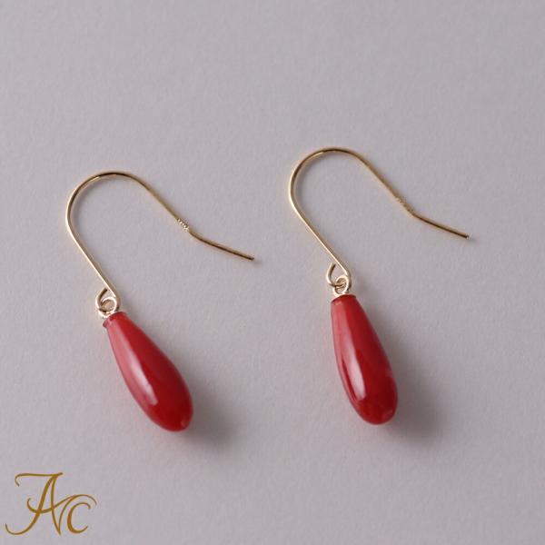 日本産血赤珊瑚K18アメリカン・ピアス