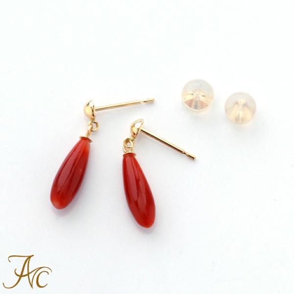 日本産血赤珊瑚つゆ型ブラ・K18ピアス