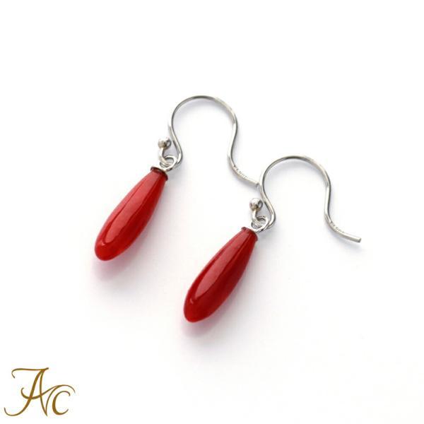 日本産血赤珊瑚プラチナ アメリカンピアス