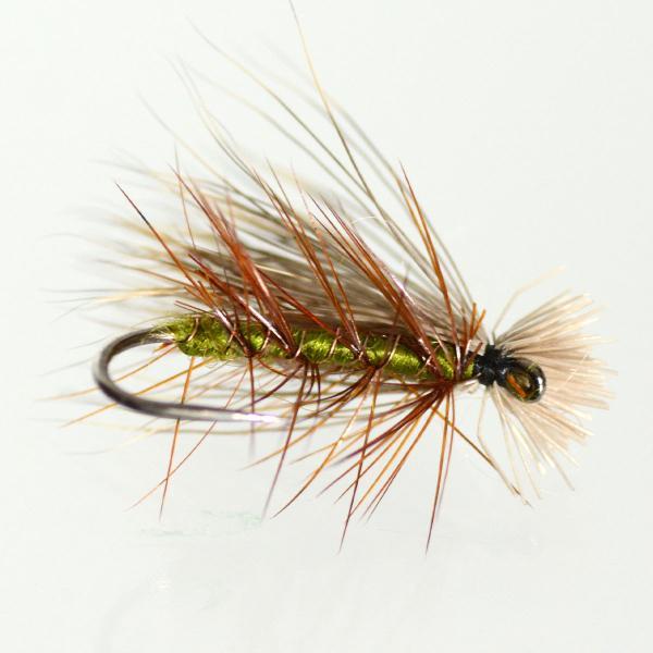 ドライフライ(dry fly) エルクヘアカディス オリーブ #8〜#16 フライフィッシング 渓流 完成フライ 管理釣り場