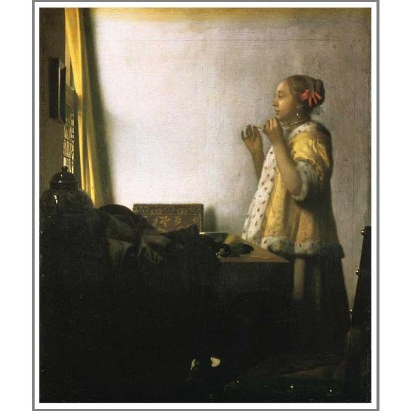 複製画 送料無料 絵画 フェルメール展 油絵 模写 フェルメール「真珠の首飾りの女」F10(53.0×45.5cm)プレゼント 贈り物 名画 オーダーメイド 額付き 直筆 art-meigakan0717