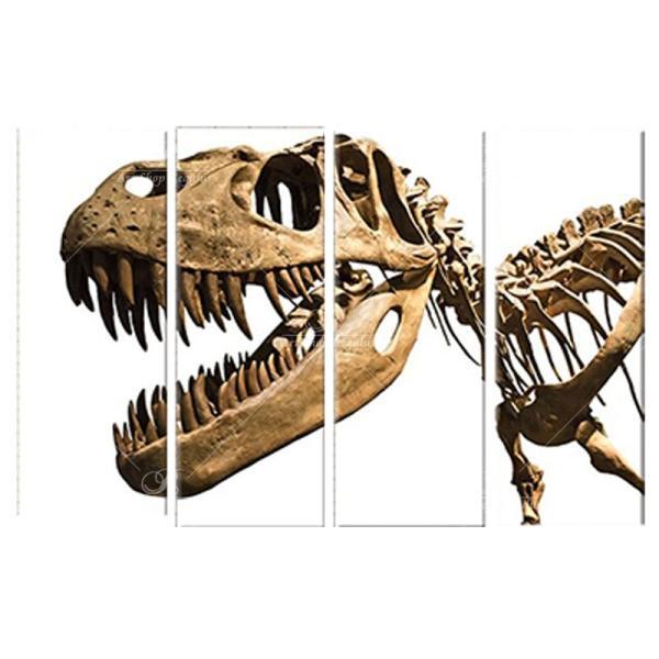絵画 インテリア アート パネル 恐竜 化石 リビング 寝室 装飾 マルチカラー 4パネル 全幅80cm