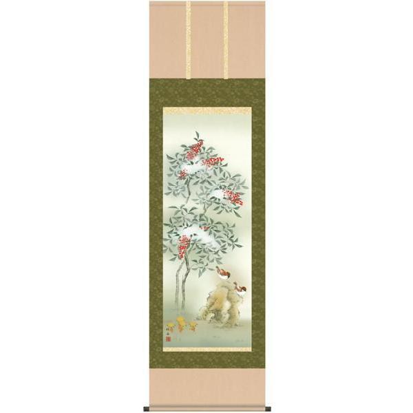 長江桂舟・四季花鳥(冬/単幅)(花鳥画掛け軸・掛軸)(床の間)