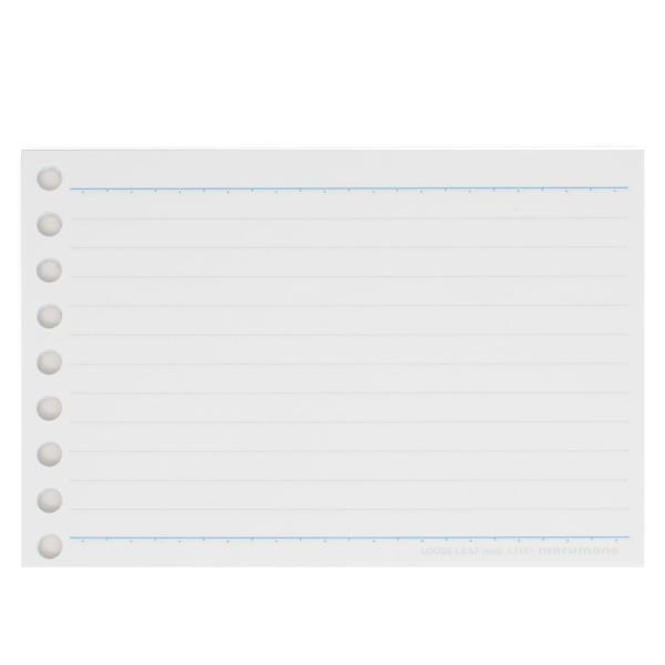 書きやすいルーズリーフ ミニ B7変形(9穴) 筆記用紙80g/m2 メモリ入6mm罫 100枚 L1431 【maruman/マルマン】[DM便(2)]|artandpaperm|03