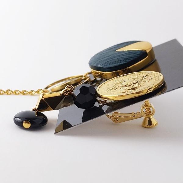 本物ヴィンテージボタンのイヤリング イヤーアクセサリー オシャレ 大きめ レディース ハンドメイド 一点物