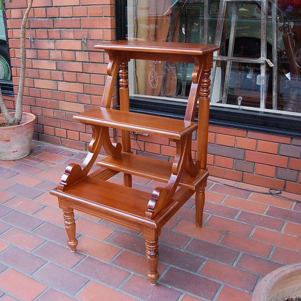 ライブラリーステップ 踏み台 飾り棚 おしゃれ チーク無垢材 天然木 インドネシア直輸入 オリジナル家具
