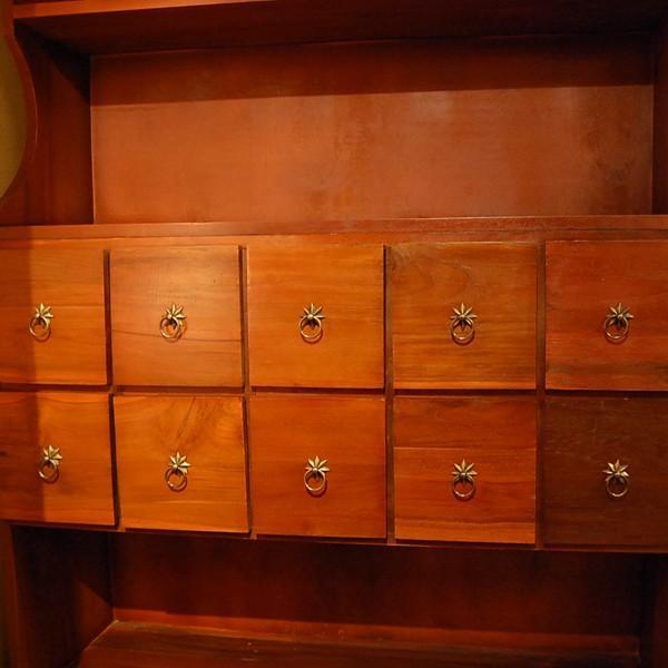 10引出シェルフ・10Drawers Shelf・本棚・カップボード・チーク無垢材・インドネシア直輸入・真鍮金具付 artcrew 02