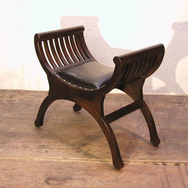 クラブレザーベンチ1人掛け・スツール・牛革チェア・チーク&レザー・オリジナル家具・インドネシア直輸入 artcrew