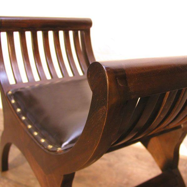 クラブレザーベンチ1人掛け・スツール・牛革チェア・チーク&レザー・オリジナル家具・インドネシア直輸入 artcrew 04