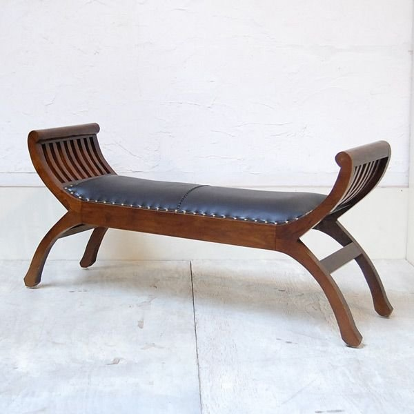 カウチベンチ レザーベンチ2人掛け・・・チーク&レザー・オリジナル家具・インドネシア直輸入|artcrew