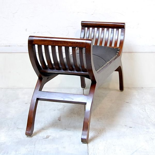 カウチベンチ レザーベンチ2人掛け・・・チーク&レザー・オリジナル家具・インドネシア直輸入|artcrew|03
