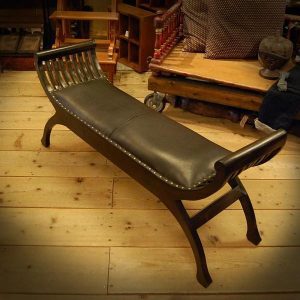 Crab Leather Bench 2st  クラブレザーベンチ2人掛け・・・チーク&レザー・オリジナル家具・インドネシア直輸入|artcrew